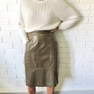 Vintage 80s mossy taupe leather midi pencil skirt